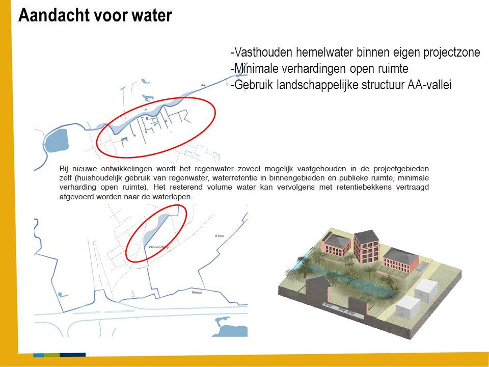 Aandacht voor water -Vasthouden hemelwater binnen eigen projectzone -Minimale verhardingen open ruimte -Gebruik landschappelijke structuur AA-vallei