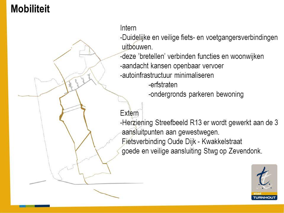 Mobiliteit Intern -Duidelijke en veilige fiets- en voetgangersverbindingen uitbouwen. -deze 'bretellen' verbinden functies en woonwijken -aandacht kan