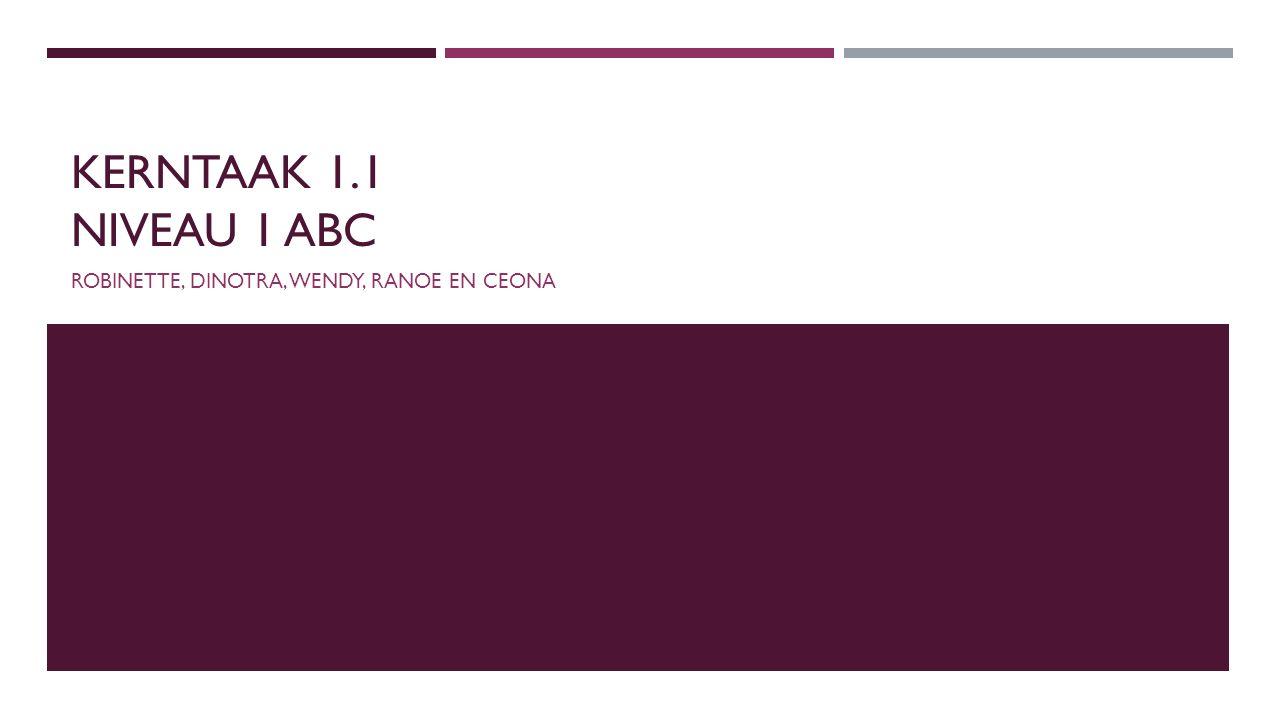 KERNTAAK 1.1 NIVEAU 1 ABC ROBINETTE, DINOTRA, WENDY, RANOE EN CEONA