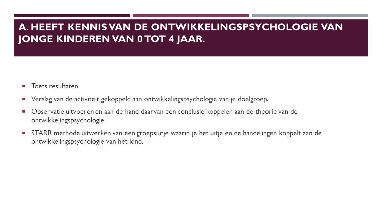 A.HEEFT KENNIS VAN DE ONTWIKKELINGSPSYCHOLOGIE VAN JONGE KINDEREN VAN 0 TOT 4 JAAR.