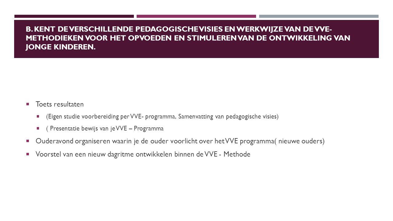 B. KENT DE VERSCHILLENDE PEDAGOGISCHE VISIES EN WERKWIJZE VAN DE VVE- METHODIEKEN VOOR HET OPVOEDEN EN STIMULEREN VAN DE ONTWIKKELING VAN JONGE KINDER