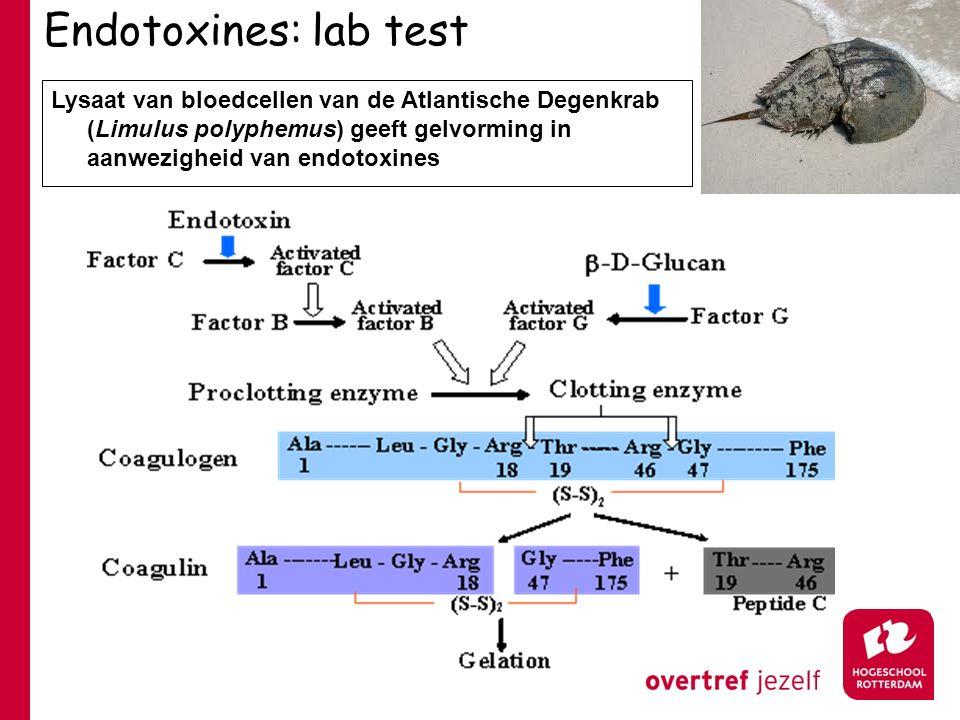 Endotoxines: lab test Lysaat van bloedcellen van de Atlantische Degenkrab (Limulus polyphemus) geeft gelvorming in aanwezigheid van endotoxines
