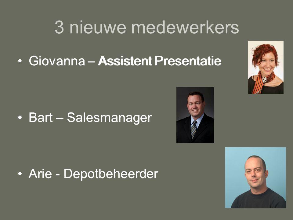 3 nieuwe medewerkers Giovanna – Assistent Presentatie Bart – Salesmanager Arie - Depotbeheerder Giovanna – Assistent Presentatie Bart – Salesmanager Arie - Depotbeheerder