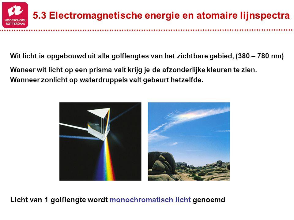 5.3 Electromagnetische energie en atomaire lijnspectra Verhitte (aangeslagen) atomen geven straling af (emissie) Deze straling is een combinatie van verschillende specifieke golflengtes die m.b.v een prisma zichtbaar worden en dat noemt men een lijnspectrum Ieder atoom heeft zijn eigen karakteristieke lijn(en) spectrum