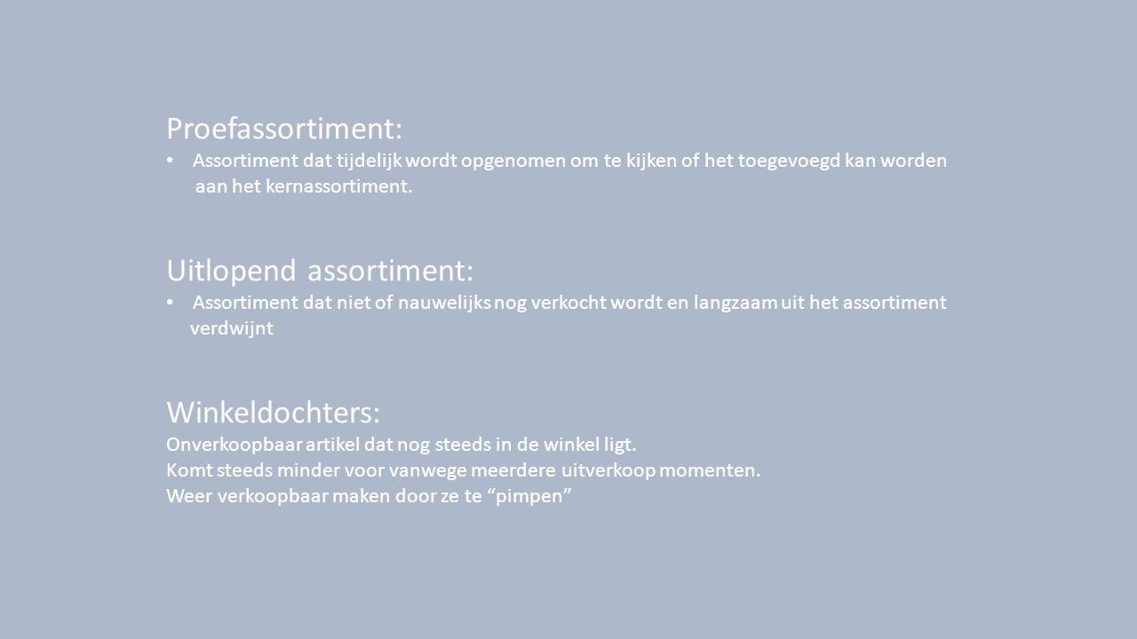 Proefassortiment: Assortiment dat tijdelijk wordt opgenomen om te kijken of het toegevoegd kan worden aan het kernassortiment. Uitlopend assortiment: