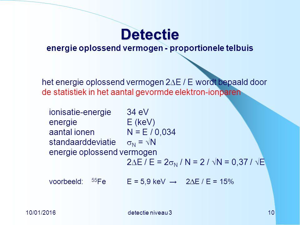 10/01/2016detectie niveau 310 Detectie Detectie energie oplossend vermogen - proportionele telbuis het energie oplossend vermogen 2  E / E wordt bepaald door de statistiek in het aantal gevormde elektron-ionparen ionisatie-energie34 eV energieE (keV) aantal ionenN = E / 0,034 standaarddeviatie  N =  N energie oplossend vermogen 2  E / E = 2  N / N = 2 /  N = 0,37 /  E voorbeeld: 55 FeE = 5,9 keV→ 2  E / E = 15%