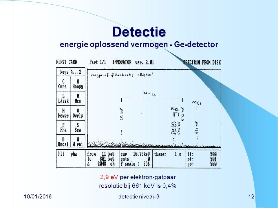 10/01/2016detectie niveau 312 Detectie Detectie energie oplossend vermogen - Ge-detector 2,9 eV per elektron-gatpaar resolutie bij 661 keV is 0,4%
