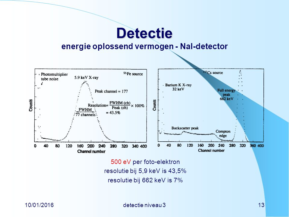 10/01/2016detectie niveau 313 Detectie Detectie energie oplossend vermogen - NaI-detector 500 eV per foto-elektron resolutie bij 5,9 keV is 43,5% resolutie bij 662 keV is 7%