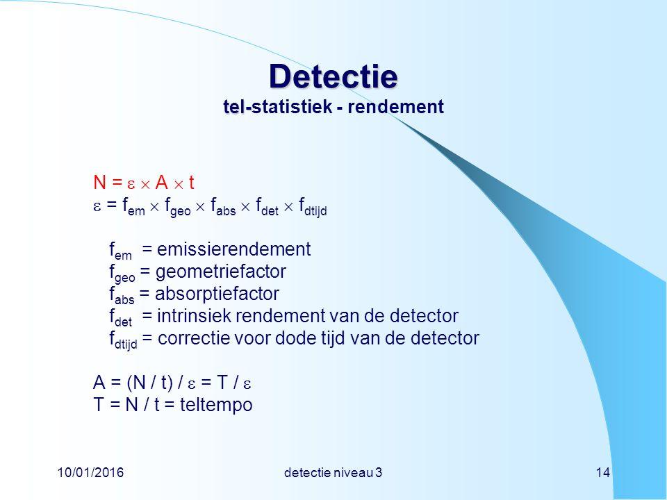 10/01/2016detectie niveau 314 Detectie tel- Detectie tel-statistiek - rendement N =   A  t  = f em  f geo  f abs  f det  f dtijd f em = emissierendement f geo = geometriefactor f abs = absorptiefactor f det = intrinsiek rendement van de detector f dtijd = correctie voor dode tijd van de detector A = (N / t) /  = T /  T = N / t = teltempo