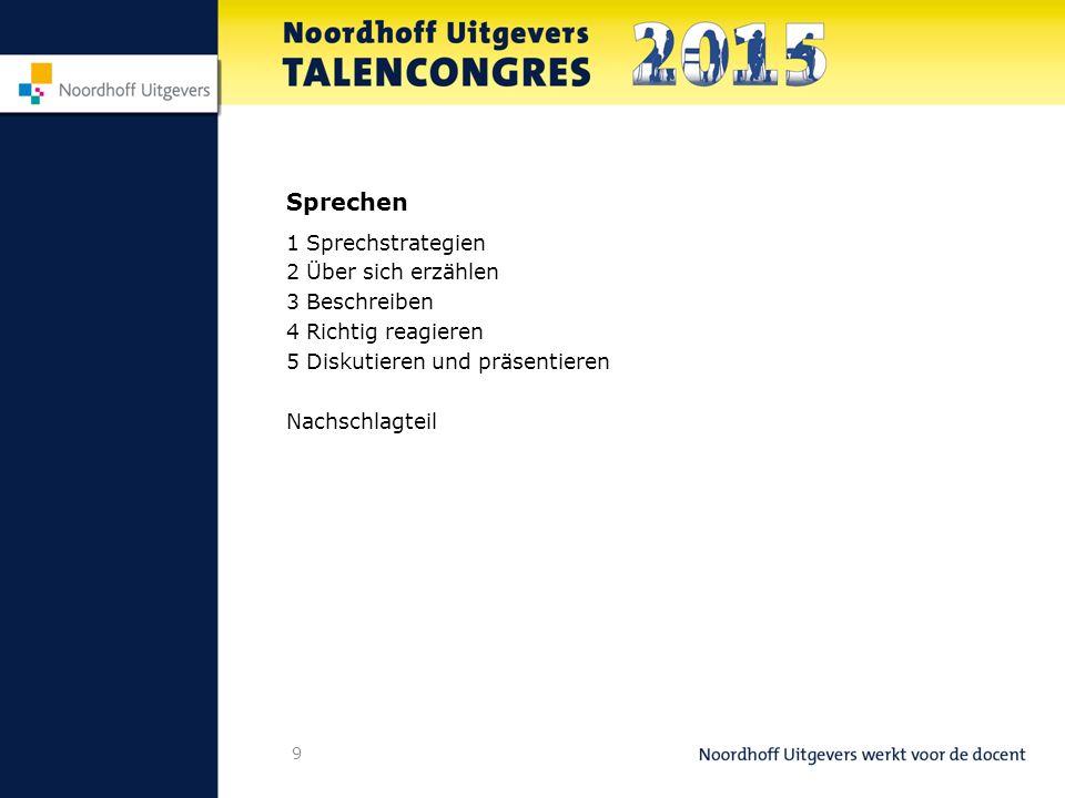 9 Sprechen 1 Sprechstrategien 2 Über sich erzählen 3 Beschreiben 4 Richtig reagieren 5 Diskutieren und präsentieren Nachschlagteil