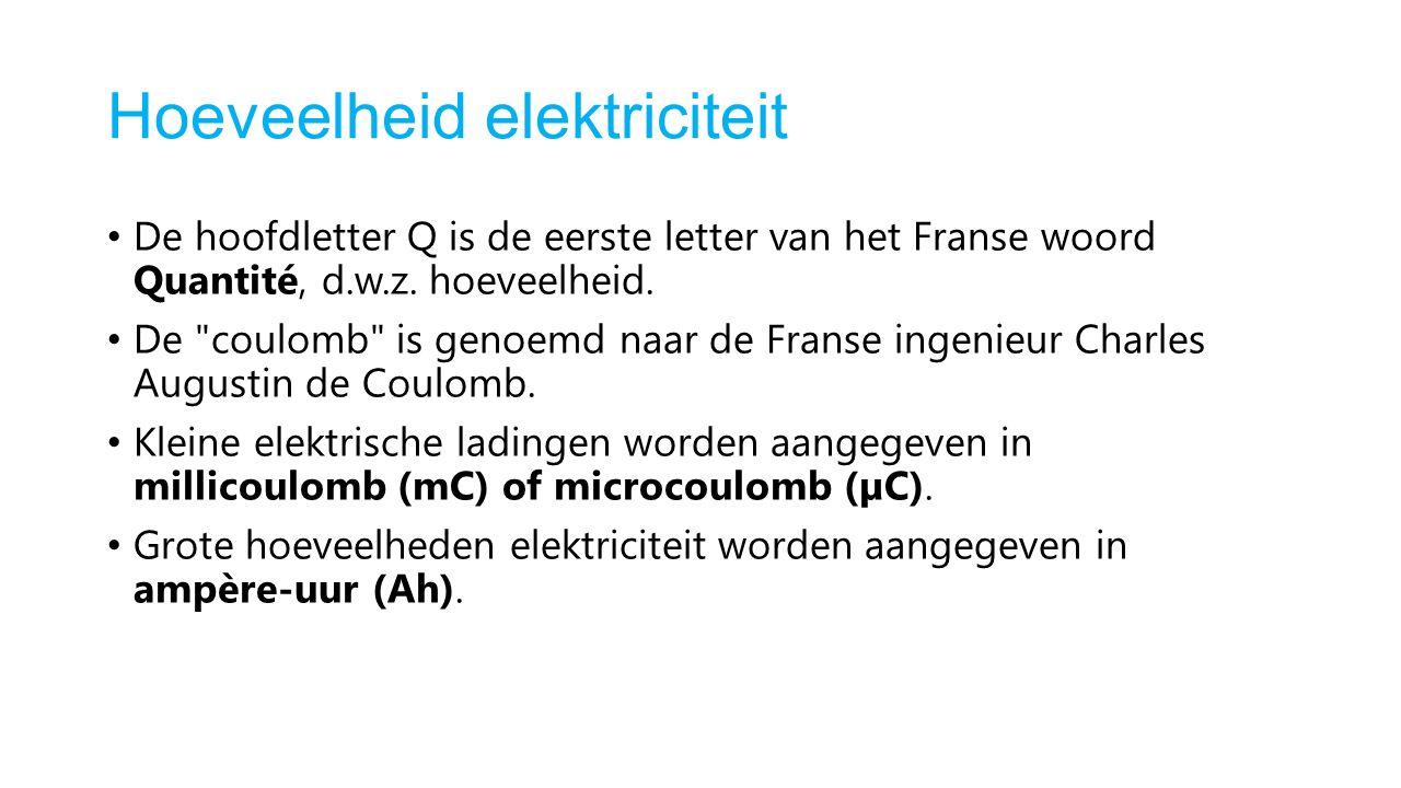 Hoeveelheid elektriciteit De hoofdletter Q is de eerste letter van het Franse woord Quantité, d.w.z.