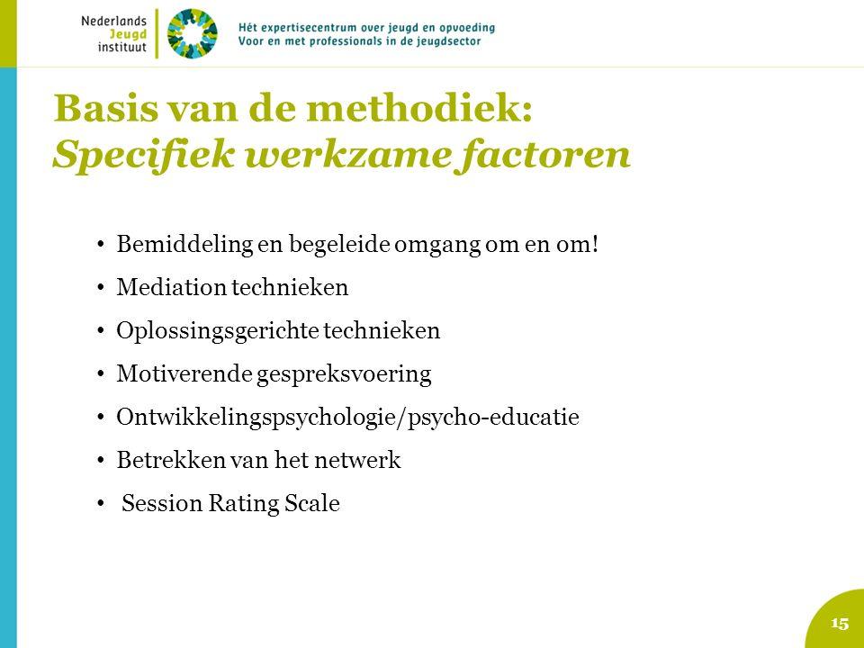 Basis van de methodiek: Specifiek werkzame factoren 15 Bemiddeling en begeleide omgang om en om! Mediation technieken Oplossingsgerichte technieken Mo