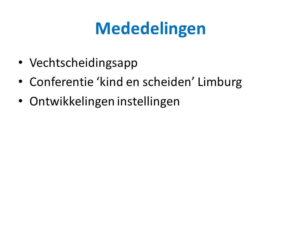 Mededelingen Vechtscheidingsapp Conferentie 'kind en scheiden' Limburg Ontwikkelingen instellingen