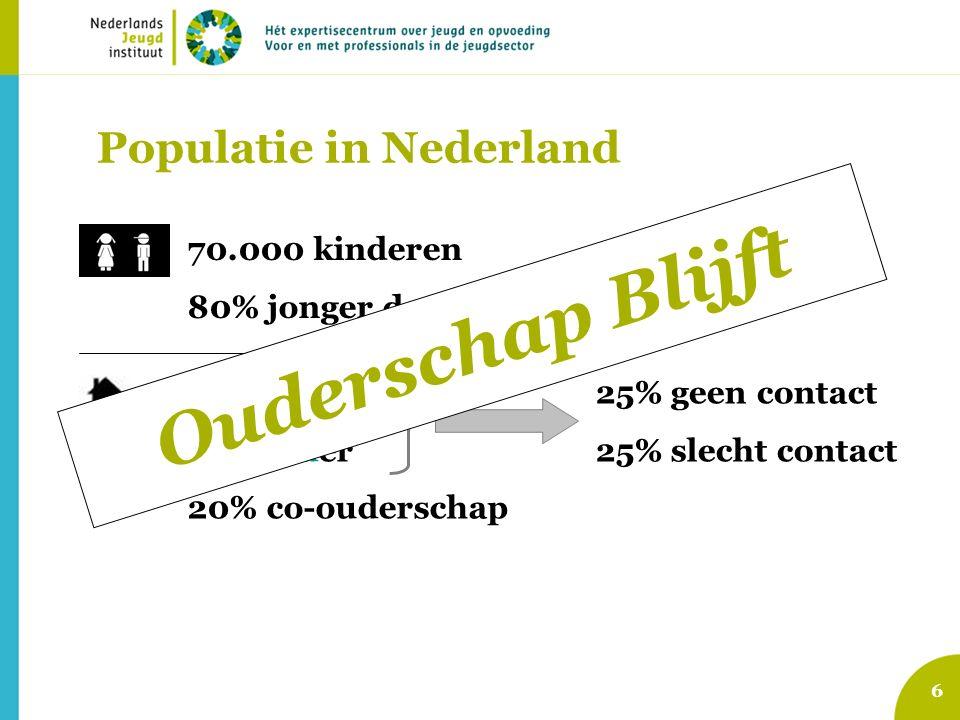 Populatie in Nederland 6 70.000 kinderen 80% jonger dan 14 jaar 74% moeder 6% vader 20% co-ouderschap 25% geen contact 25% slecht contact Ouderschap B