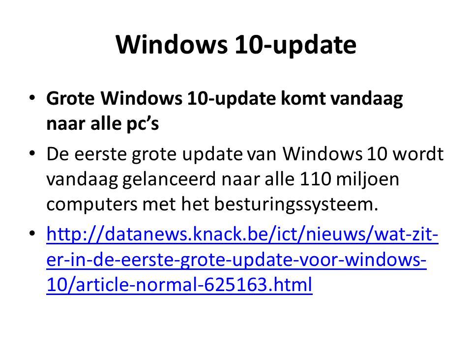 Windows 10-update Grote Windows 10-update komt vandaag naar alle pc's De eerste grote update van Windows 10 wordt vandaag gelanceerd naar alle 110 miljoen computers met het besturingssysteem.