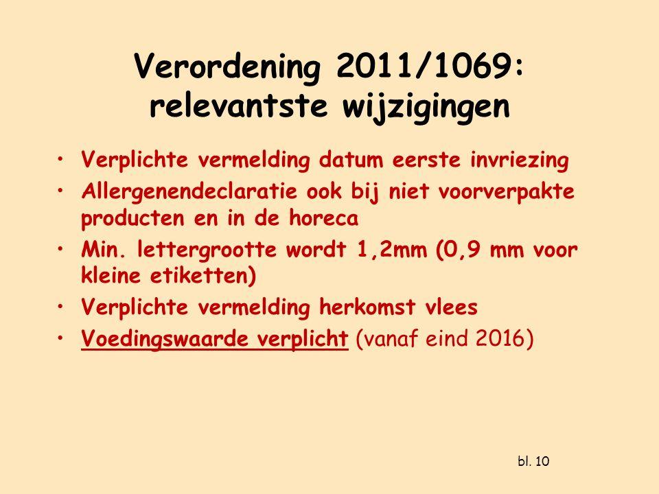 Verordening 2011/1069: relevantste wijzigingen Verplichte vermelding datum eerste invriezing Allergenendeclaratie ook bij niet voorverpakte producten en in de horeca Min.