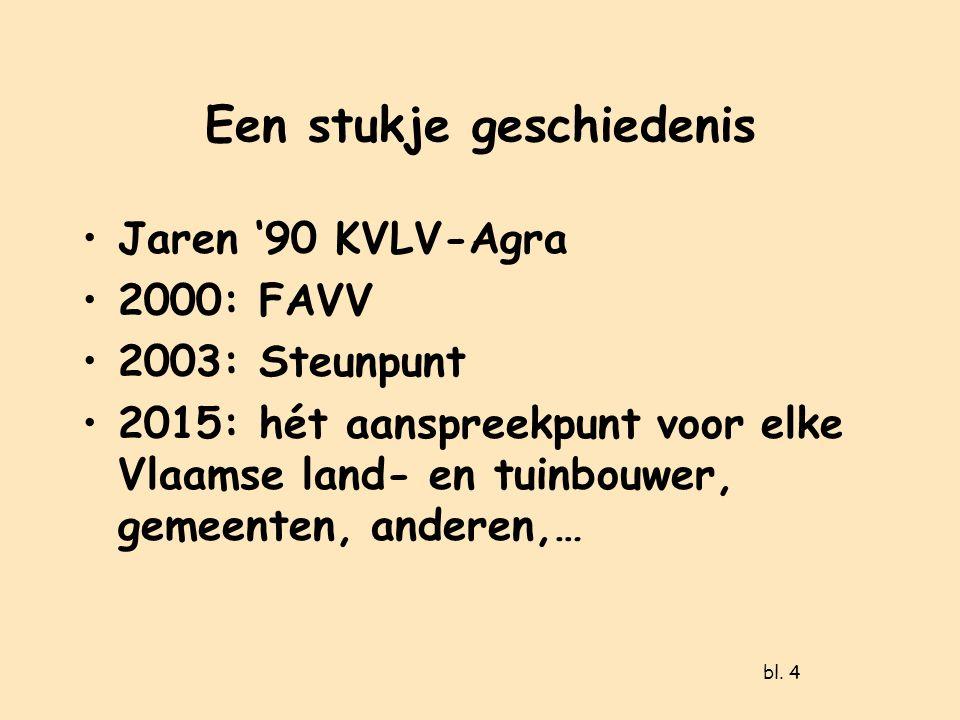 Een stukje geschiedenis Jaren '90 KVLV-Agra 2000: FAVV 2003: Steunpunt 2015: hét aanspreekpunt voor elke Vlaamse land- en tuinbouwer, gemeenten, anderen,… bl.