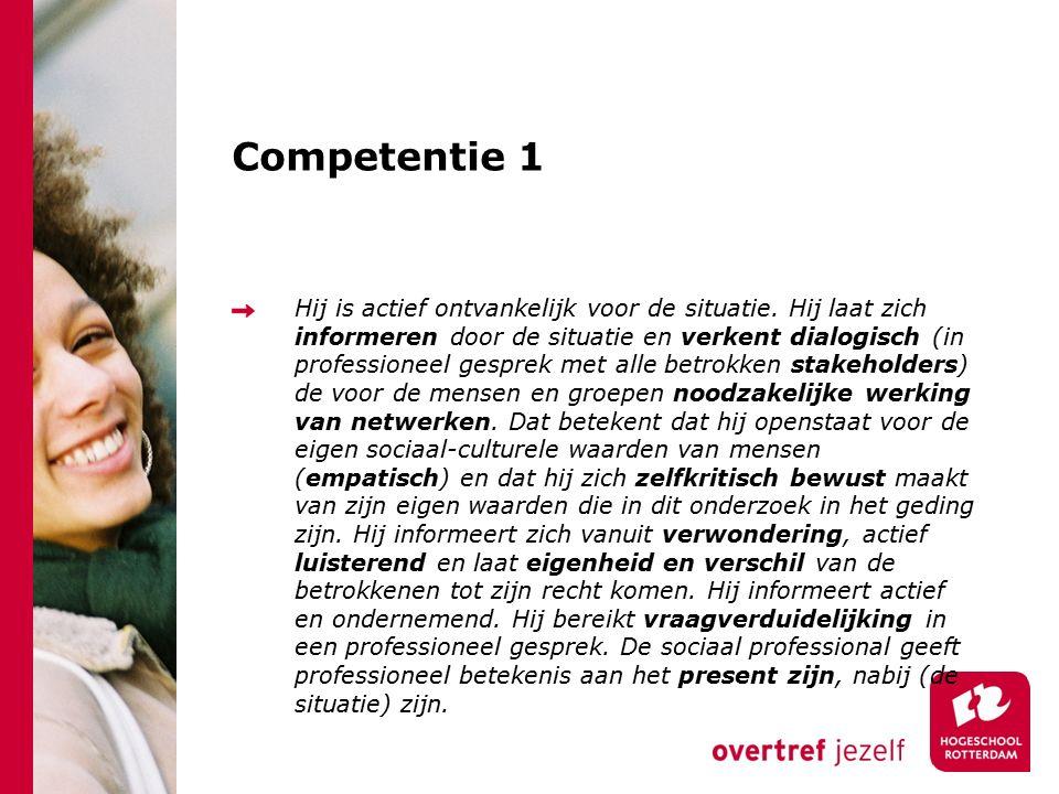 Competentie 4 (deels) De sociaal professional handelt reflectief.