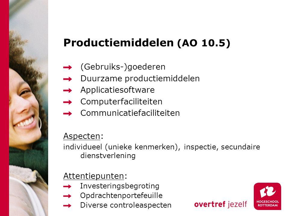 Productiemiddelen (AO 10.5) (Gebruiks-)goederen Duurzame productiemiddelen Applicatiesoftware Computerfaciliteiten Communicatiefaciliteiten Aspecten: