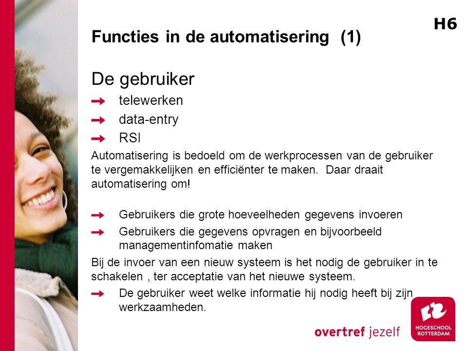 Functies in de automatisering (1) De gebruiker telewerken data-entry RSI Automatisering is bedoeld om de werkprocessen van de gebruiker te vergemakkel