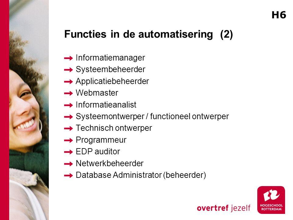 Functies in de automatisering (2) Informatiemanager Systeembeheerder Applicatiebeheerder Webmaster Informatieanalist Systeemontwerper / functioneel on