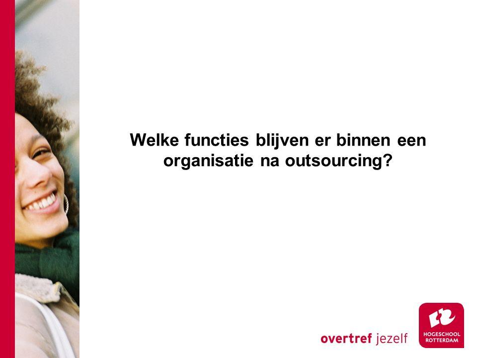 Welke functies blijven er binnen een organisatie na outsourcing?