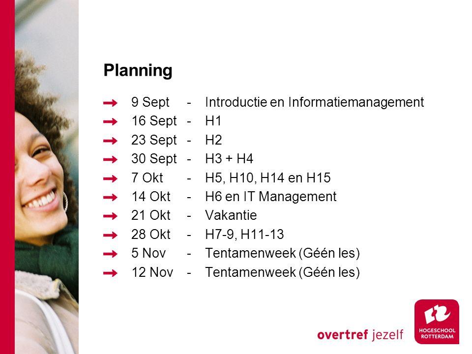 Planning 9 Sept-Introductie en Informatiemanagement 16 Sept-H1 23 Sept-H2 30 Sept-H3 + H4 7 Okt-H5, H10, H14 en H15 14 Okt-H6 en IT Management 21 Okt-