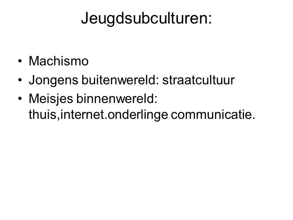 Jeugdsubculturen: Machismo Jongens buitenwereld: straatcultuur Meisjes binnenwereld: thuis,internet.onderlinge communicatie.