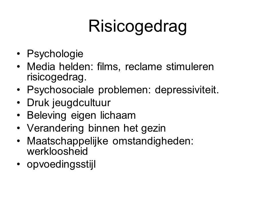 Risicogedrag Psychologie Media helden: films, reclame stimuleren risicogedrag.