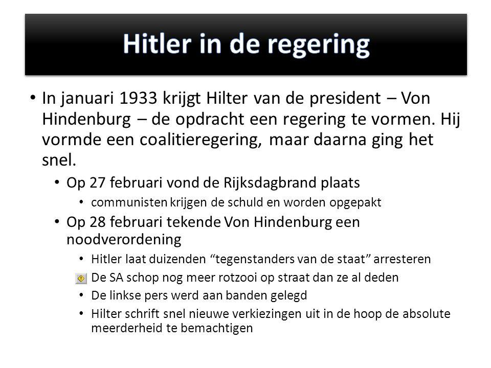 In januari 1933 krijgt Hilter van de president – Von Hindenburg – de opdracht een regering te vormen.