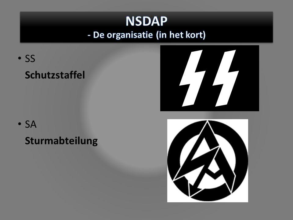 SS Schutzstaffel SA Sturmabteilung