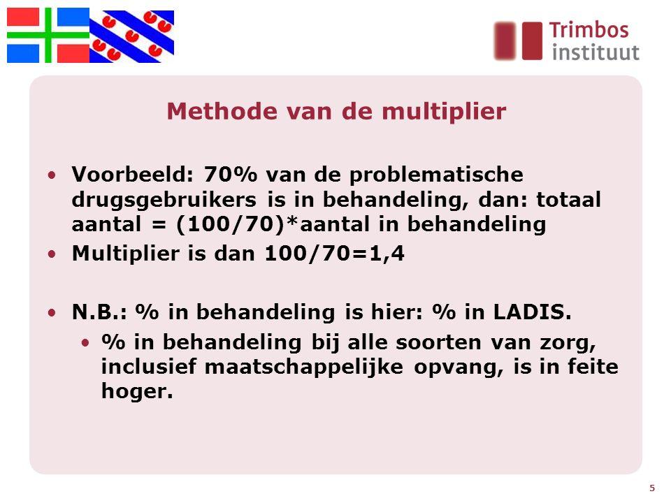 Methode van de multiplier Voorbeeld: 70% van de problematische drugsgebruikers is in behandeling, dan: totaal aantal = (100/70)*aantal in behandeling