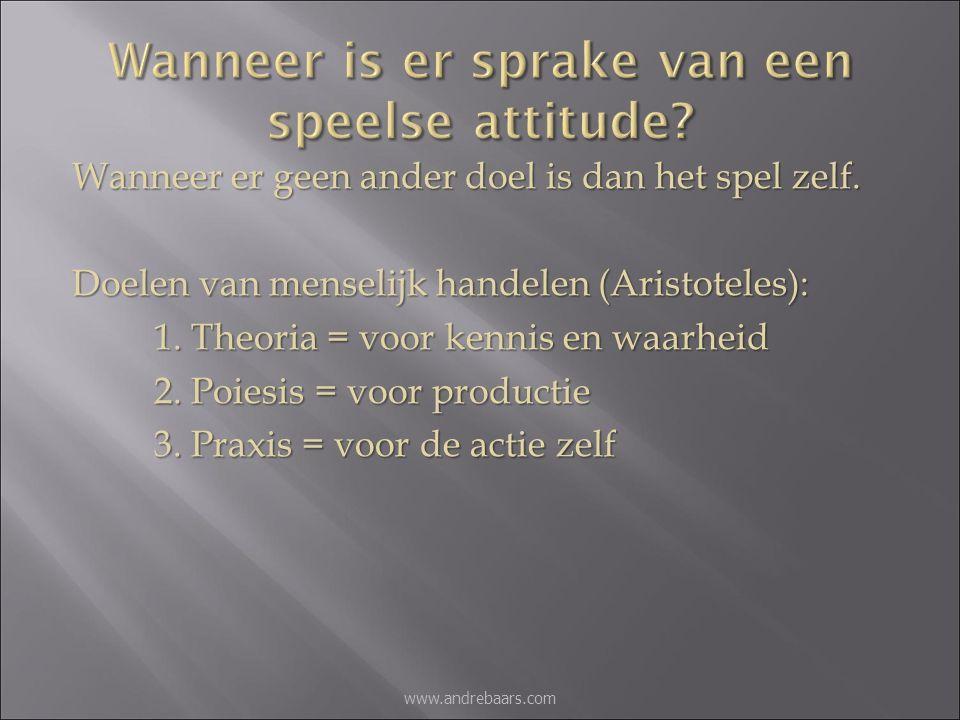 Poiesis: Het doel heiligt de middelen Praxis: It's not whether you win or lose but how you play the game. www.andrebaars.com