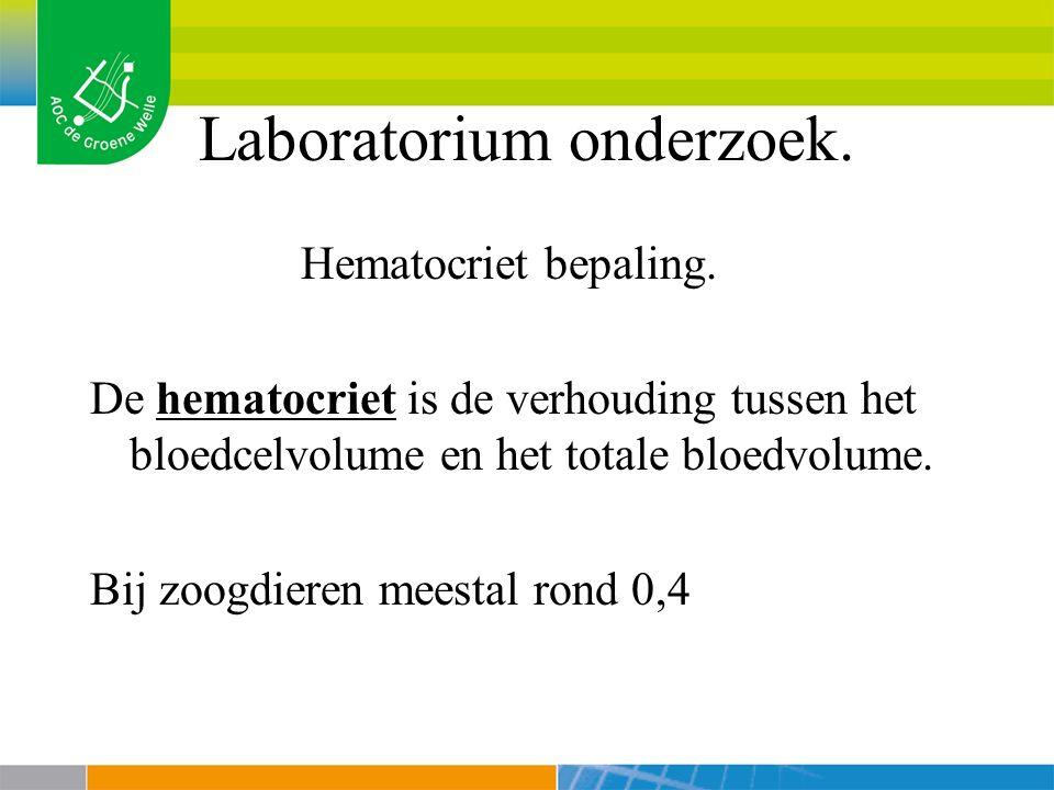 Laboratorium onderzoek.Hematocriet bepaling.