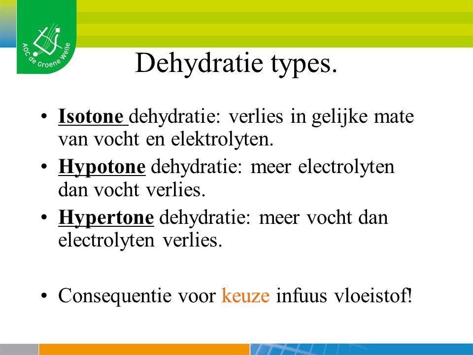 Dehydratie types.Isotone dehydratie: verlies in gelijke mate van vocht en elektrolyten.