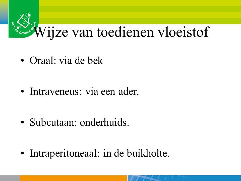 Wijze van toedienen vloeistof Oraal: via de bek Intraveneus: via een ader.