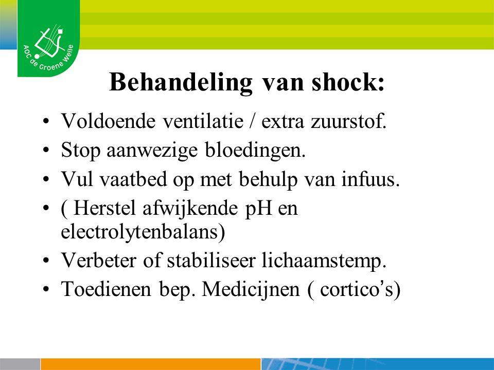 Behandeling van shock: Voldoende ventilatie / extra zuurstof.