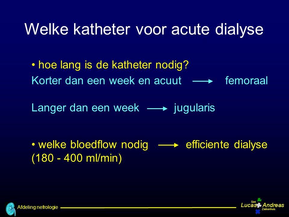 Afdeling nefrologie LucasAndreas Sint Ziekenhuis hoe lang is de katheter nodig? welke bloedflow nodig efficiente dialyse (180 - 400 ml/min) Welke kath