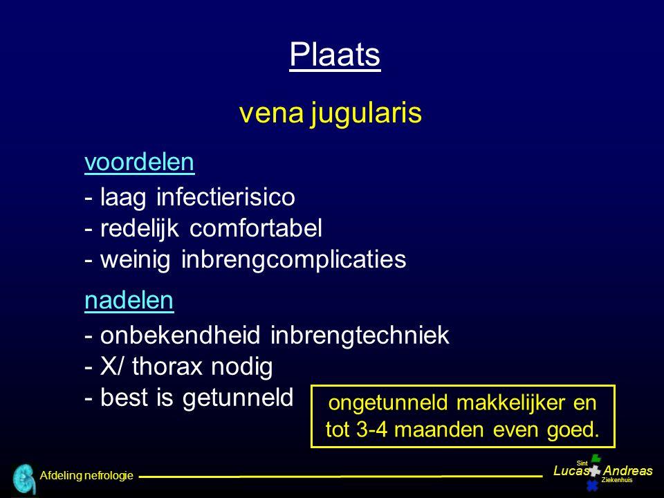 Afdeling nefrologie LucasAndreas Sint Ziekenhuis Overleving katheter na insteekplaats (272 katheters) getunneld jug precurved jug subcl straight jug fem Weijmer MC et al, Nephrol Dial Transpl 2004;19:670-77