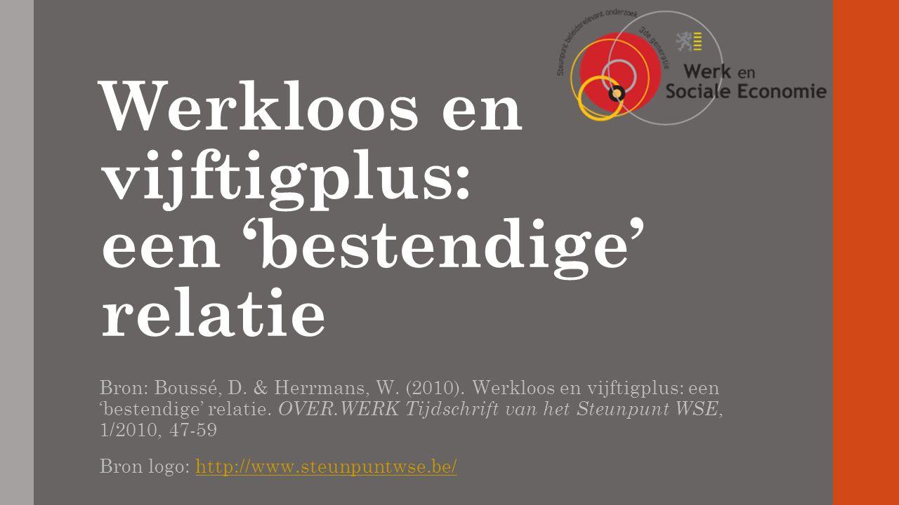 Werkloos en vijftigplus: een 'bestendige' relatie Bron: Boussé, D.