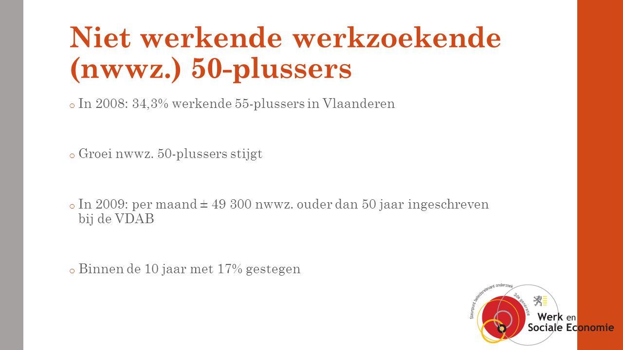 Niet werkende werkzoekende (nwwz.) 50-plussers o In 2008: 34,3% werkende 55-plussers in Vlaanderen o Groei nwwz.
