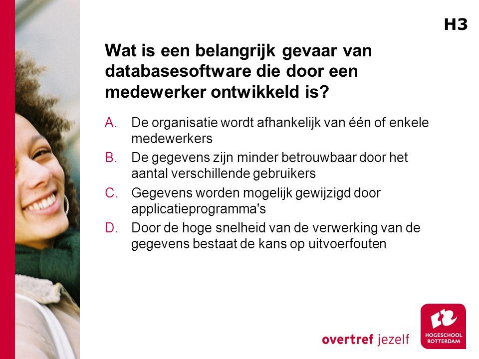 Wat is een belangrijk gevaar van databasesoftware die door een medewerker ontwikkeld is.