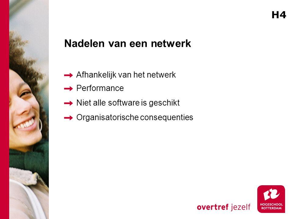 Nadelen van een netwerk Afhankelijk van het netwerk Performance Niet alle software is geschikt Organisatorische consequenties H4