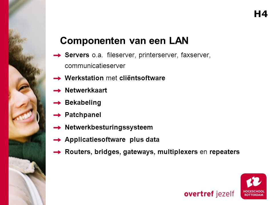 Componenten van een LAN Servers o.a.
