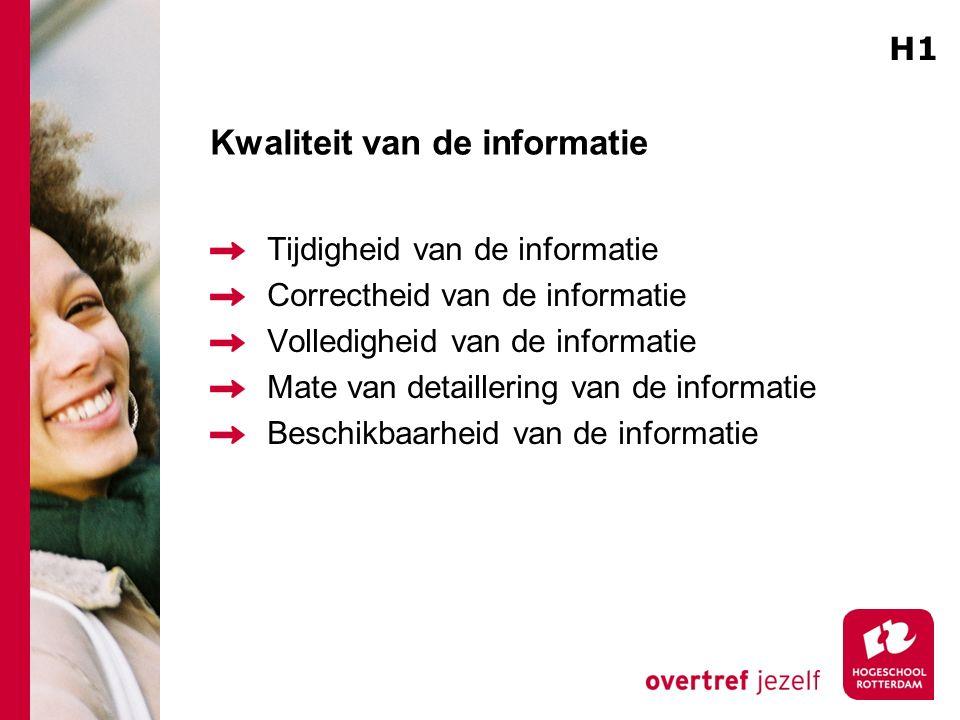 Kwaliteit van de informatie Tijdigheid van de informatie Correctheid van de informatie Volledigheid van de informatie Mate van detaillering van de informatie Beschikbaarheid van de informatie H1