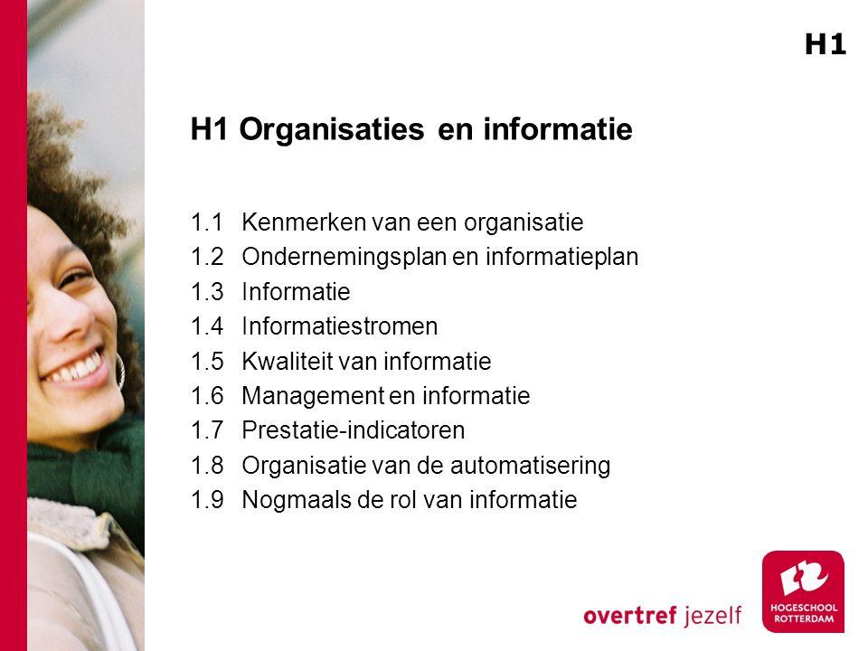 H1 Organisaties en informatie 1.1Kenmerken van een organisatie 1.2Ondernemingsplan en informatieplan 1.3Informatie 1.4Informatiestromen 1.5Kwaliteit van informatie 1.6Management en informatie 1.7Prestatie-indicatoren 1.8Organisatie van de automatisering 1.9Nogmaals de rol van informatie H1