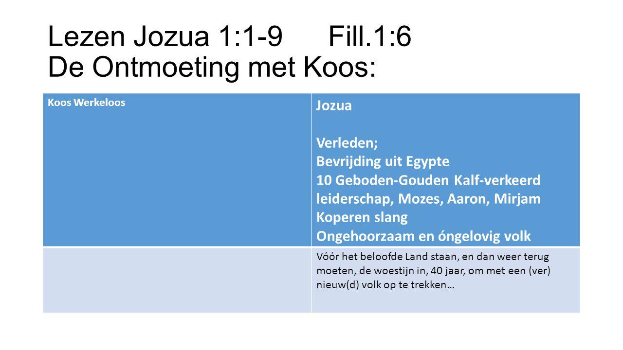 Lezen Jozua 1:1-9Fill.1:6 De Ontmoeting met Koos: Koos Werkeloos Jozua Verleden; Bevrijding uit Egypte 10 Geboden-Gouden Kalf-verkeerd leiderschap, Mozes, Aaron, Mirjam Koperen slang Ongehoorzaam en óngelovig volk Vóór het beloofde Land staan, en dan weer terug moeten, de woestijn in, 40 jaar, om met een (ver) nieuw(d) volk op te trekken…