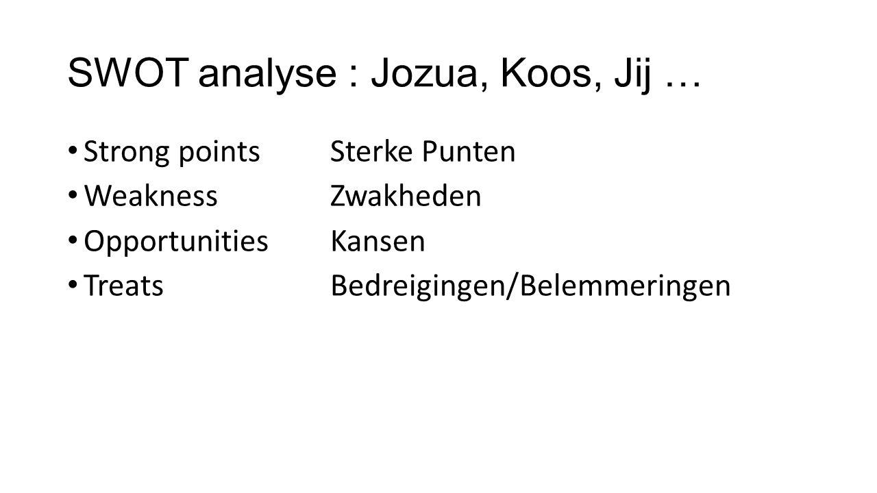 SWOT analyse : Jozua, Koos, Jij … Strong pointsSterke Punten WeaknessZwakheden OpportunitiesKansen TreatsBedreigingen/Belemmeringen
