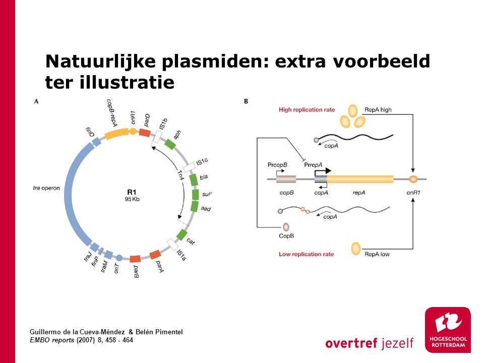 Natuurlijke plasmiden: extra voorbeeld ter illustratie Guillermo de la Cueva-Méndez & Belén Pimentel EMBO reports (2007) 8, 458 - 464