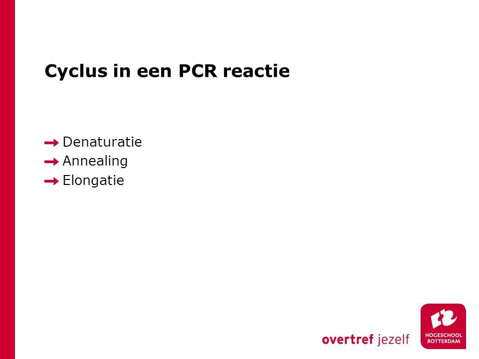 Controles bij een PCR Positieve controle: bewijs dat alle materialen werkzaam zijn en correct zijn gebruikt.